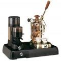 La Pavoni Set of Coffee Machine PRH and Grinder JDR on a Black B